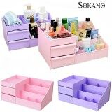 (RAYA 2019) SOKANO 1341 Large Capacity Cosmetic and Table Top Organizer With Drawers- Pink