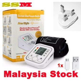 Harga SSM Digital Upper Arm Blood Pressure Pulse Monitor Health Care Tonometer Meter Sphygmomanometer Portable Blood Pressure Monitors With power adaptor