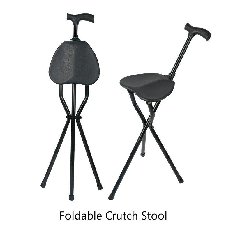 The Old Man Aluminum Alloy Folding Crutch Stool Multifunctional Walking Stick Tripod Turn Hand Battle Chair For The Elderly Senior, Pregnant Woman, Disabled Patients Etc. - intl
