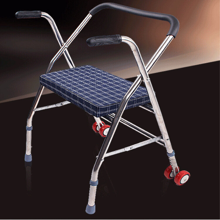 The Old Man Walkers with Stainless Steel Belt Wheel Folding Walking Aid Rehabilitation Walking Toddler Quadropods Chair Walking Aid Mobility Aid Walker Frame For The Elderly Senior, Pregnant Woman, Disabled Patients Etc. - intl