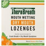TheraBreath Dentist Recommended Dry Mouth Lozenges, Sugar Free, Mandarin Mint Flavor, 24 Count
