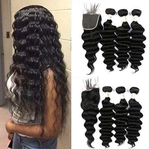 Ugrace Hair Loose Deep Wave Bundles with Closure Brazilian Hair Bundles with Lace Closure Soft and Bouncy Loose Wave Bundles and Crochet Closure with Baby Hair Natural Color 16 18 20+16 Inch Free Part - intl