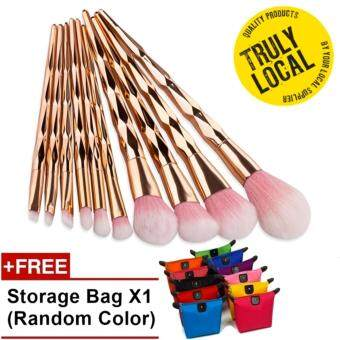 Unicorn Thread Professsional 10pcs Makeup Cosmetic Brushes Set With Colorful Rainbow Delicate Diamond Shape Handle -