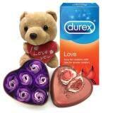 Valentine Day Gift Durex Love Condoms + Flowers in Tin Brown