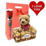 Valentine's Set with Ferrero Rocher, Flower & I Love You Bear
