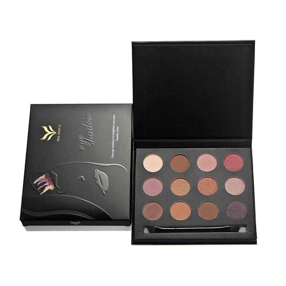 Wanxinkeji Riasan Mata Alami Shimmer Smoky Eyeshadow Kering + Wet Bubuk Palet dengan Kuas Kosmetik Set-Internasional