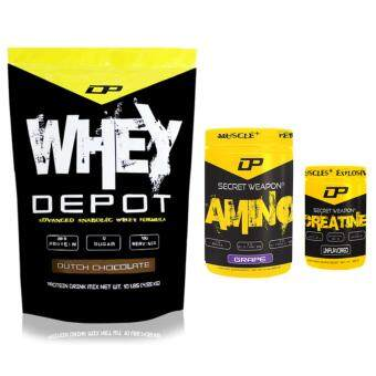 Harga Whey Protein Combo - Whey Depot 10lb/4.6kg, 28g Protein Per Serving (Dutch Chocolate) + Secret Weapon 100% Creatine 300g, 60 Servings (Unflavored) + Secret Weapon Amino, 7g BCAA, 5g Glutamine, 3g Citrulline 908g, 53 Servings (Grape) Made in USA