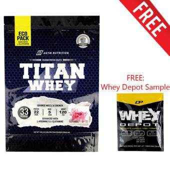 Whey Protein Halal - Titan Whey 1kg Eco Pack,Whey Isolate With 22g Protein, 33 Servings - Fast Muscle Recovery (Strawberry) + FREE Whey Depot USA Sample