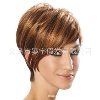 Harga Wigs human hairs women European and American wig Women Shortstraight wig fluffy wave fiber caps