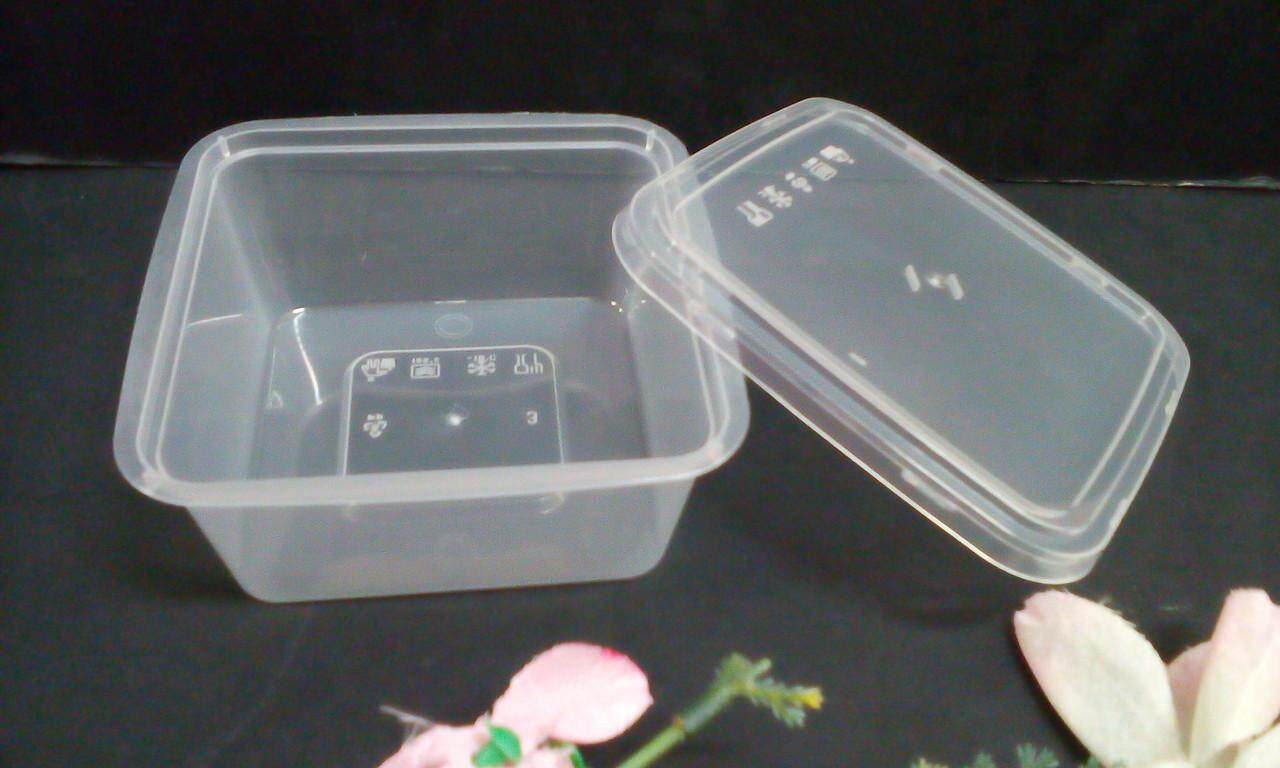10 pieces 350ml Disposable Microwaveable Small Square Container with Lid (Half Clear)