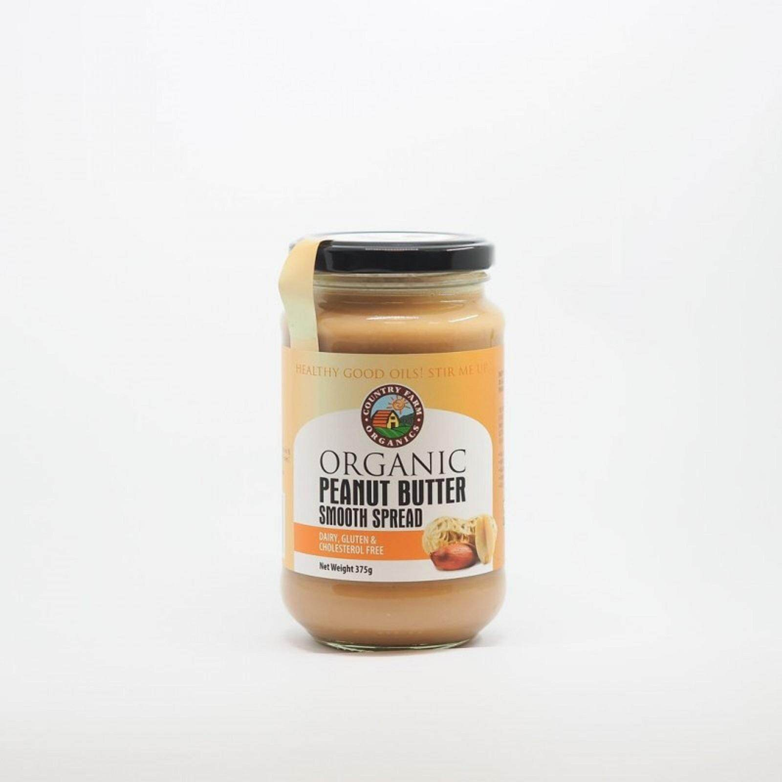 Country Farms Organic Peanut Butter Smooth- 375g [Product of Australia, Certified by NASAA]