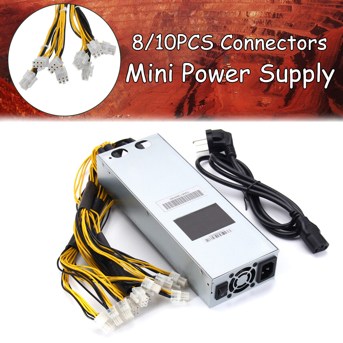 (10PCS Connectors) AntMiner APW3-12-1600 1600W PSU Power Supply For S9 S7 Antminer Full Range Mining Machine