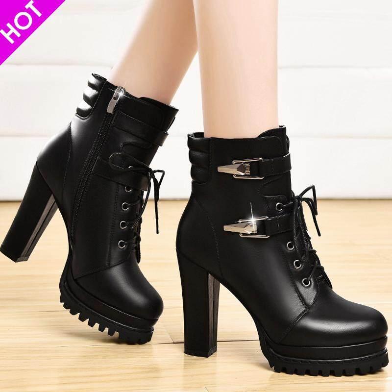 Giày bốt nữ cổ cao có gót tôn dáng thương hiệu dcamelor 2019 thời trang thu đông chun giày bốt nữ, đa năng cổ điển đầu tròn cao cấp gót thoải mái giày ống thời trang nữ