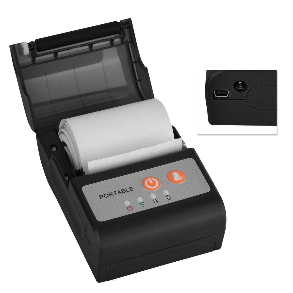 Printers - Portable Bluetooth Thermal Printer 58 mm Compatible with Android or iOS Black - [USS) / (VDE)]