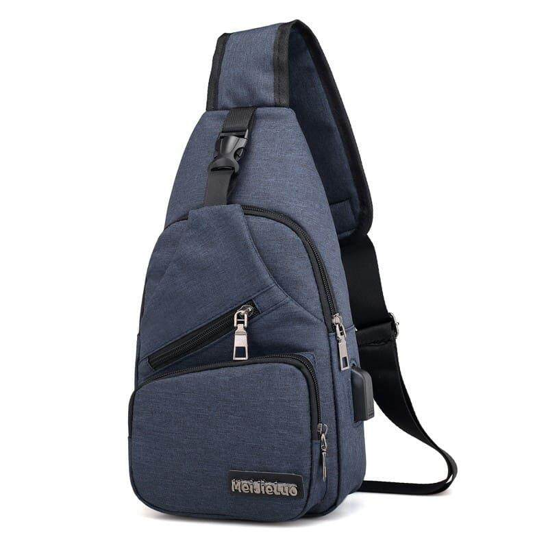 [Ready Stock] 2019 Korean Series Water Resistant Men's Canvas Chest Bag Cross Body Sling Bag Multifunction Casual Shoulder Pouch BagPack Backpack Lightweight Travel Bag Can Fit Iphone Any Android Mobile Best Gift For Father And Husband With USB