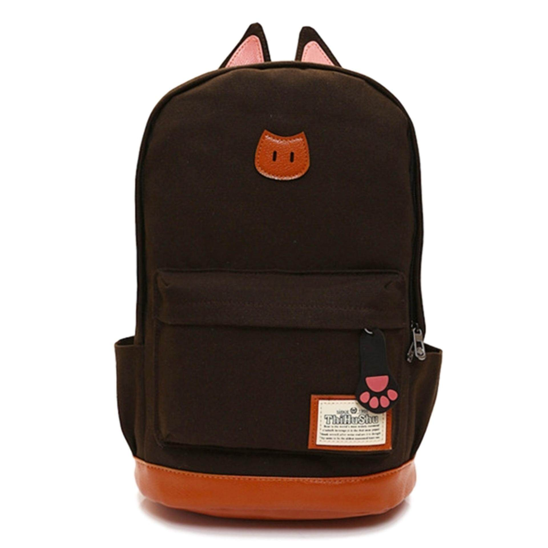 TEEMI Korean Kitten Cat Ear Canvas Backpack Casual Travel Laptop School Bag Leather Lash Tab - Brown