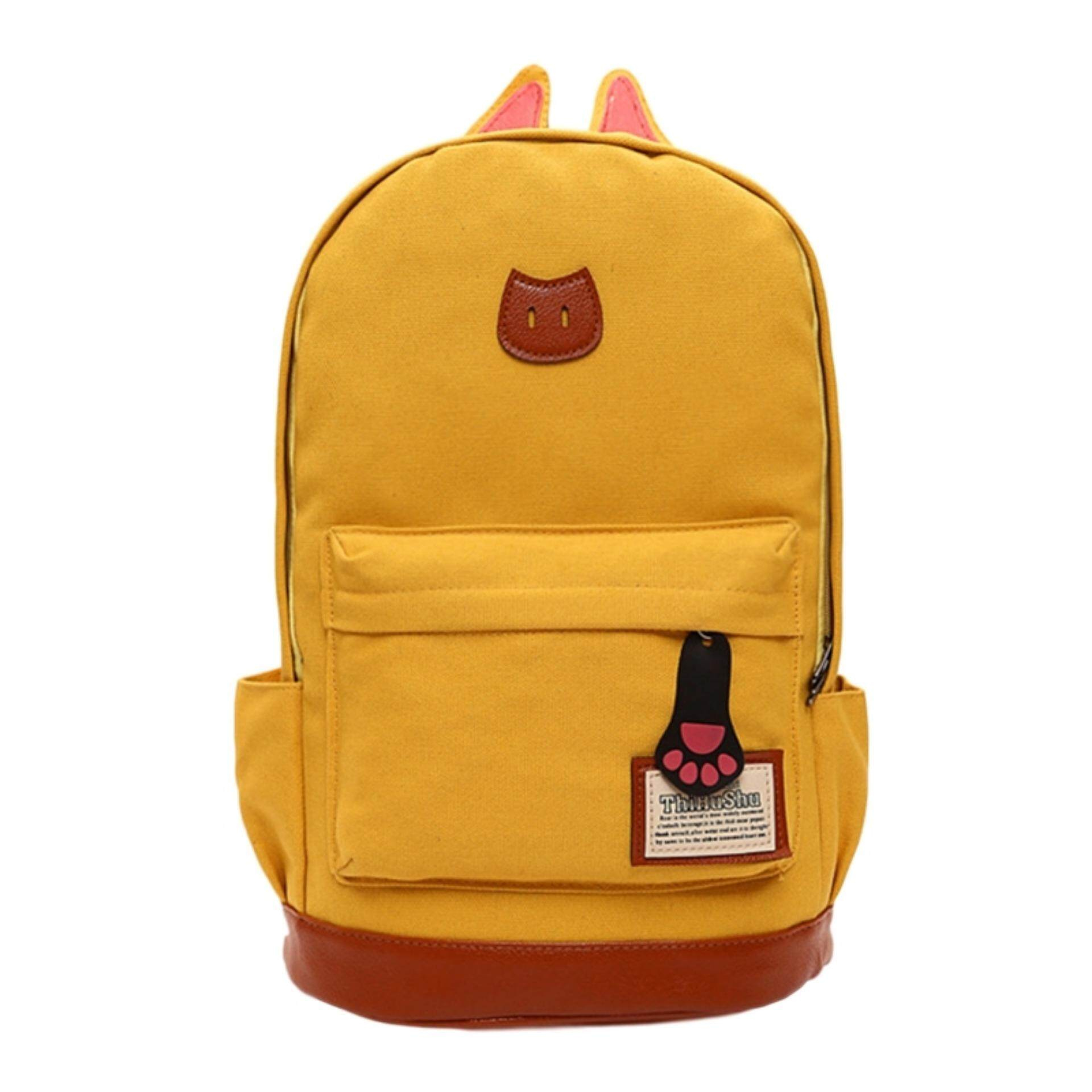 TEEMI Korean Kitten Cat Ear Canvas Backpack Casual Travel Laptop School Bag Leather Lash Tab - Yellow