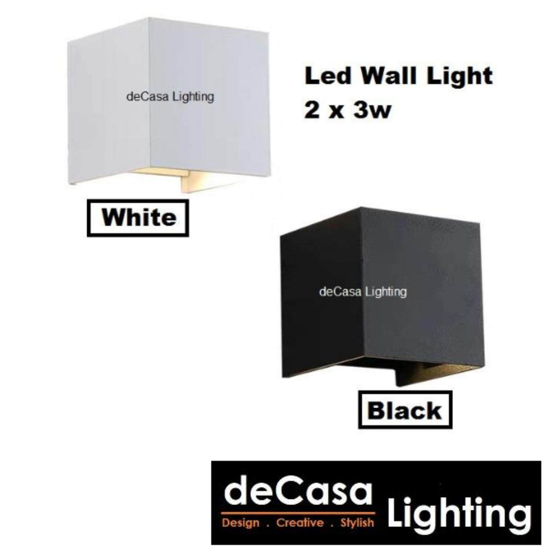 Outdoor Wall Light Special Effect Led Wall Lamp Black / White  Aluminium Wall Light 2 x 3w Led  Warm White Lampu Dinding (ACC-SZ-2002-6W-BK / O-6914-2-WH)