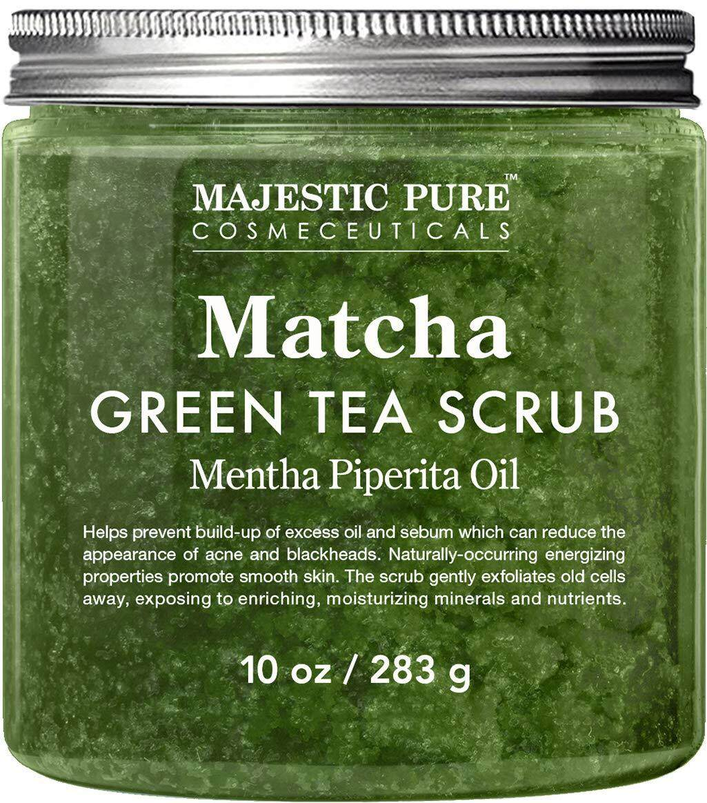 Matcha Green Tea Body Scrub for All Natural Skin Care - Exfoliating Multi Purpose Body and Facial Scrub Moisturizes and Nourishes Face and Skin - 10 oz