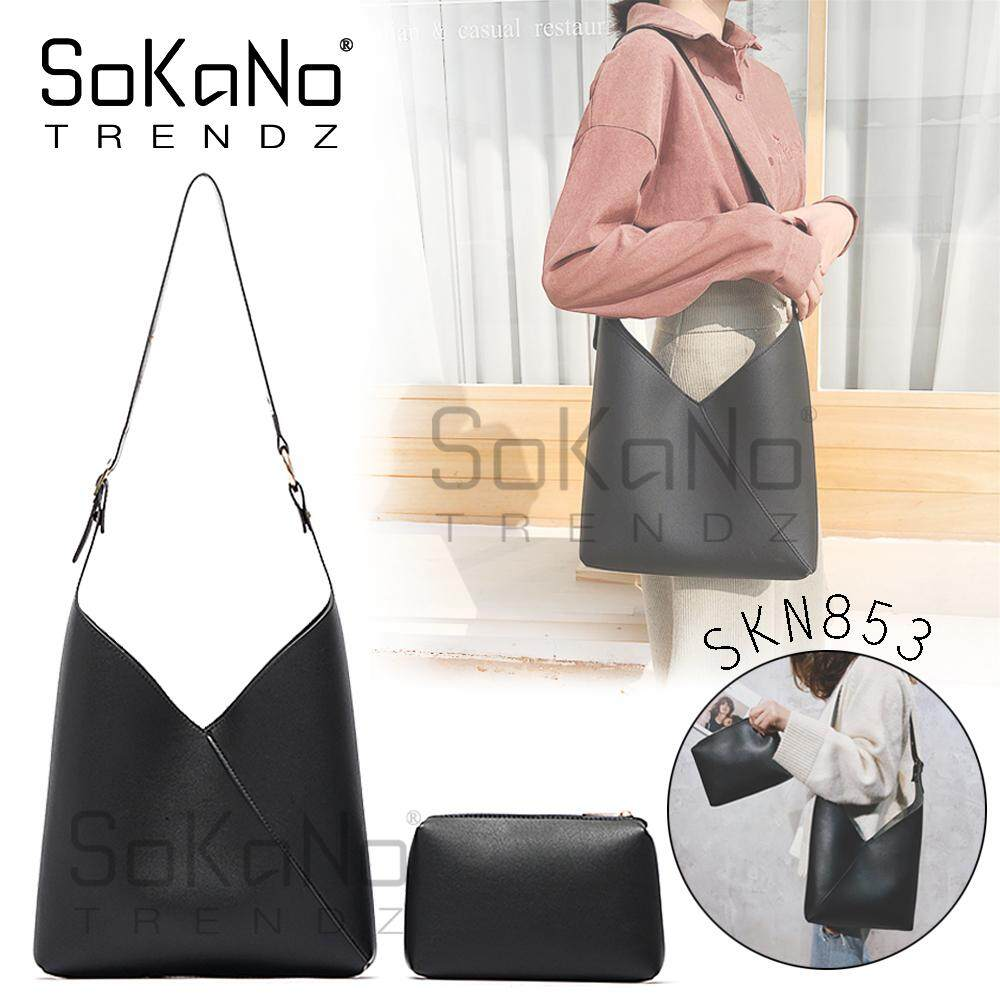 SoKaNo Trendz SKN853 2 in 1 Korean Style Shoulder and Handy Pouch PU Leather Bag Handbeg Wanita