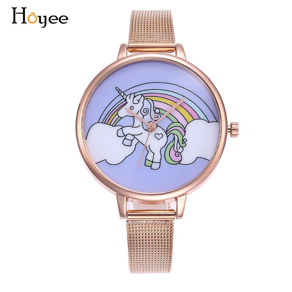 Update Harga Hoyee Modis Kuarsa Jam Tangan Bulat Jam Tangan Sabuk Baja Pegasus Unicorn Dicetak Lucu Kartun Jam Tangan Terbaik