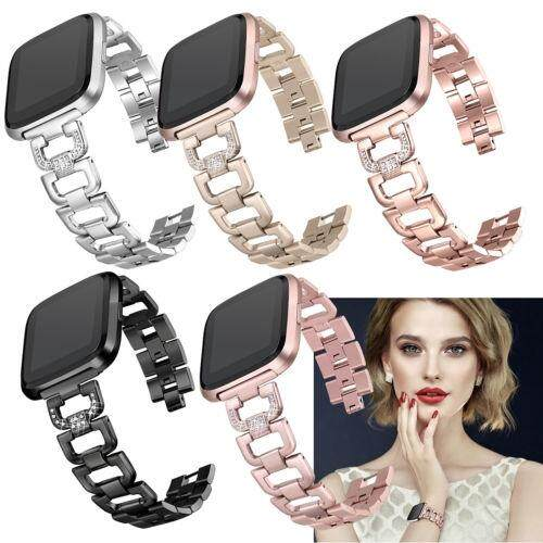 Replacement Frame Wrist Bracelet Stainless Steel Watch Band For Fitbit Versa - ROSE GOLD / SILVER / BLACK