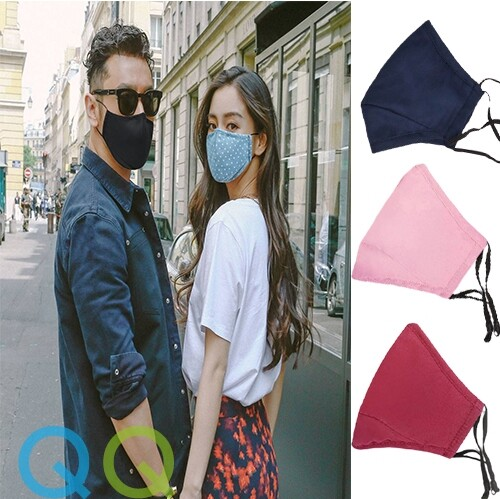 QQ Unisex 3 Ply Layers Cotton Face Mask with Adjustable Earloop, Reusable & Washable Plain Colors Soft Fabric Cloth Adults Face Cover Anti-Dust Topeng Muka 3 Lapis Gelung Telinga