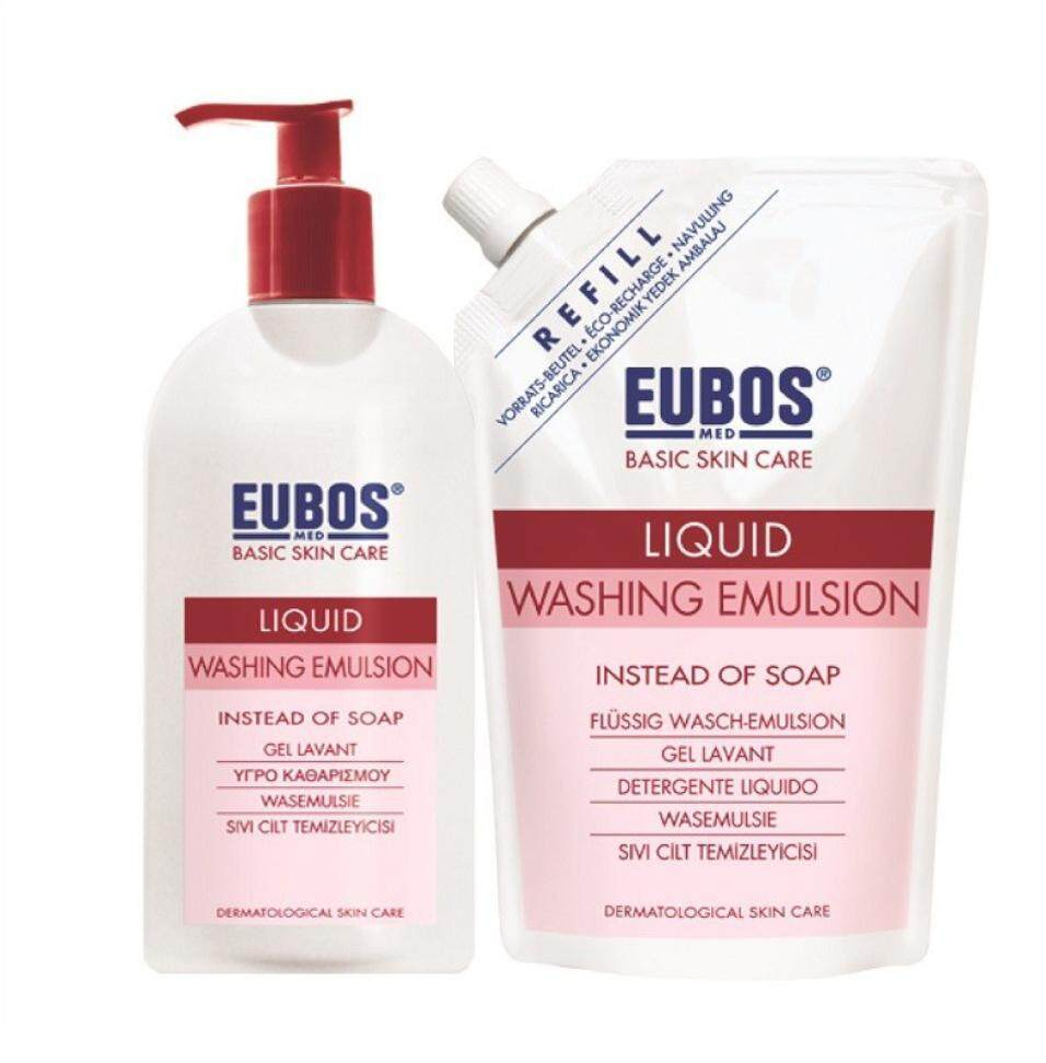 EUBOS LIQUID WASHING EMULSION 400ML + REFILL 400ML (RED)