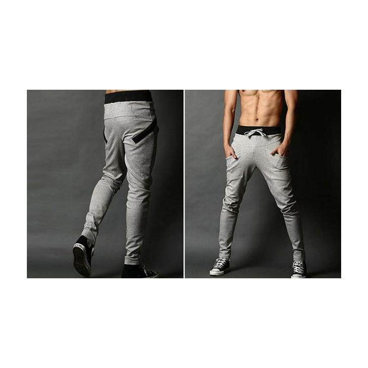 Casual Harem Long Sport Trousers Pants - Light Grey