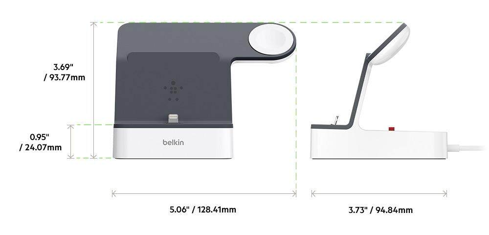 2 Years Warranty - Belkin PowerHouse Charge Dock for Apple Watch + iPhone XS, iPhone XS Max, iPhone XR (F8J237qeWHT)