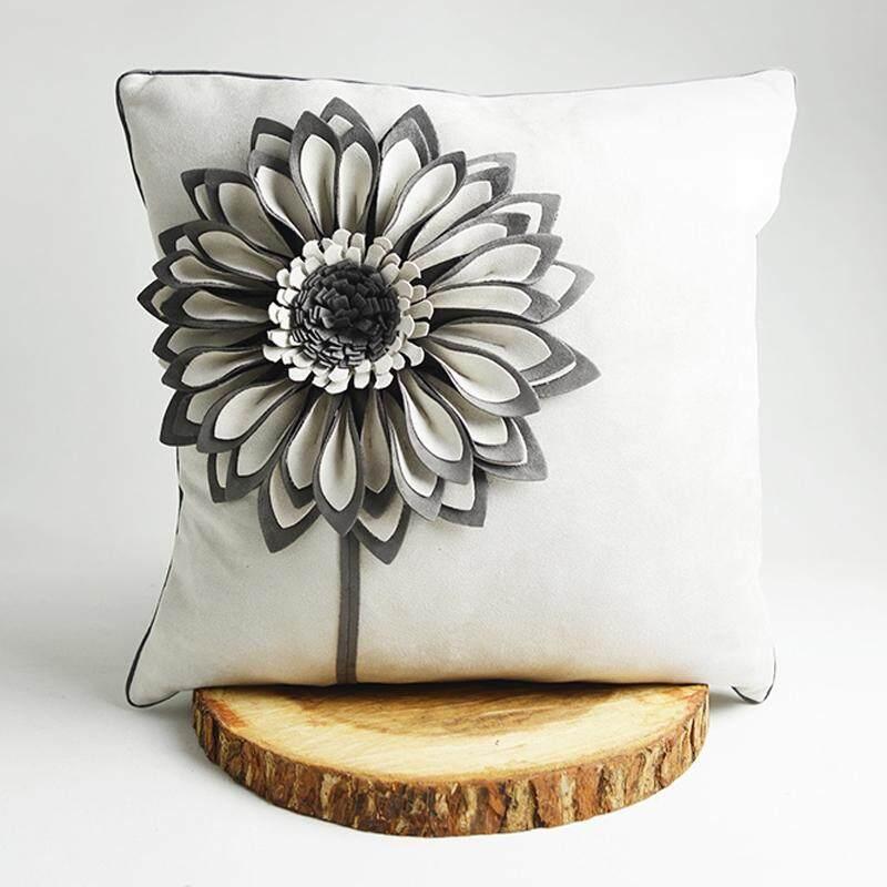Designer Series 3D Decorative Embroidered Throw Pillow, 45cm x 45cm for Home Sofa Car Bedroom Decor Design PL1002
