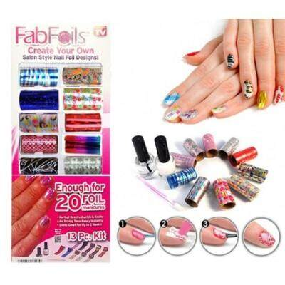 NAIL FAB FOILS 13pcs  Nail Art Kit Nail Foil Design