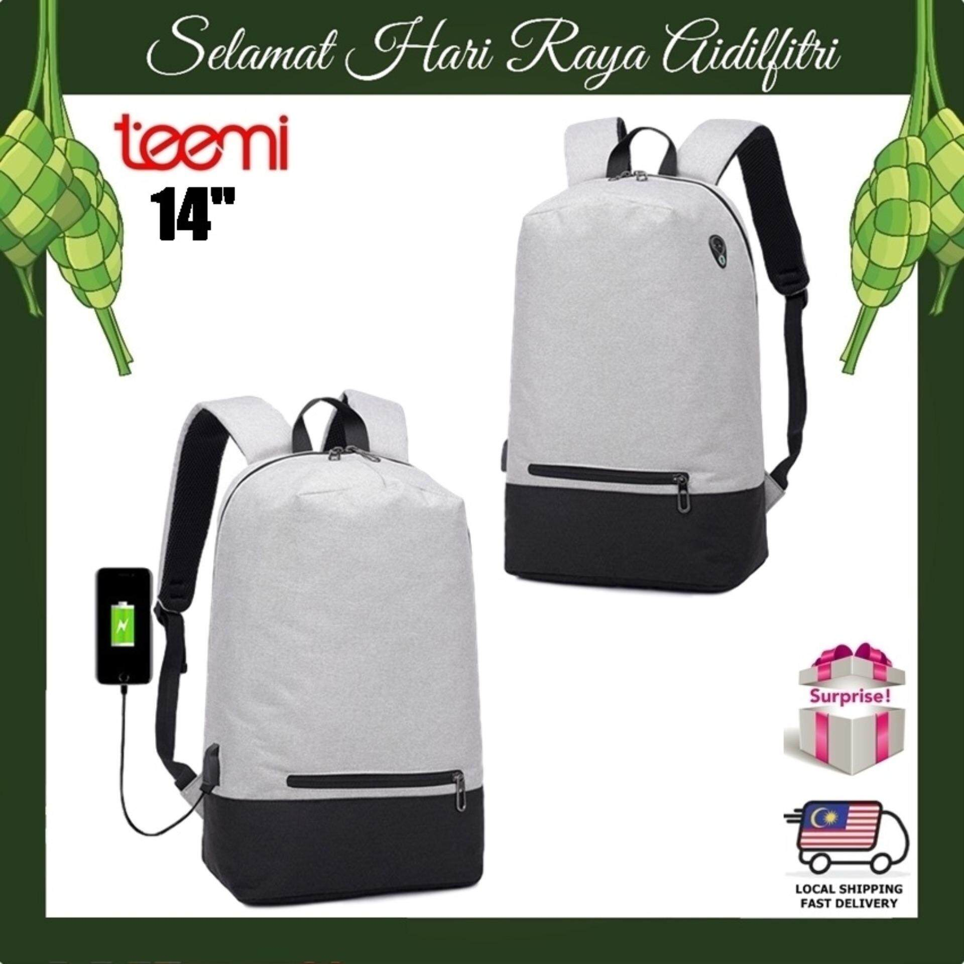 """TEEMI Compact Light Weight 14"""" Laptop Backpack Anti-theft USB Charging Port Plus Headphone Earphone Hole Patch Tech Bag Water-Resistant Travel Organizer"""