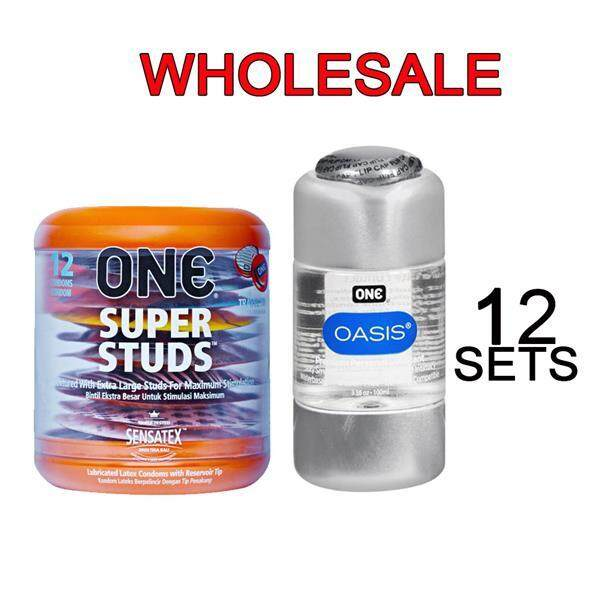 Wholesale One Super Studs Dotted Condoms 12pc + Lubricant X 12sets