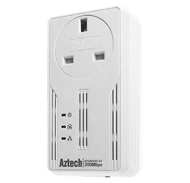 Aztech HL113EP Homeplug AV 200Mbps Ethernet Adaptor With AC Pass Through (Single)