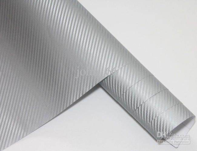 3D Carbon Fiber Decal Vinyl Film Wrap Roll Adhesive Car Sticker Sheet Grey