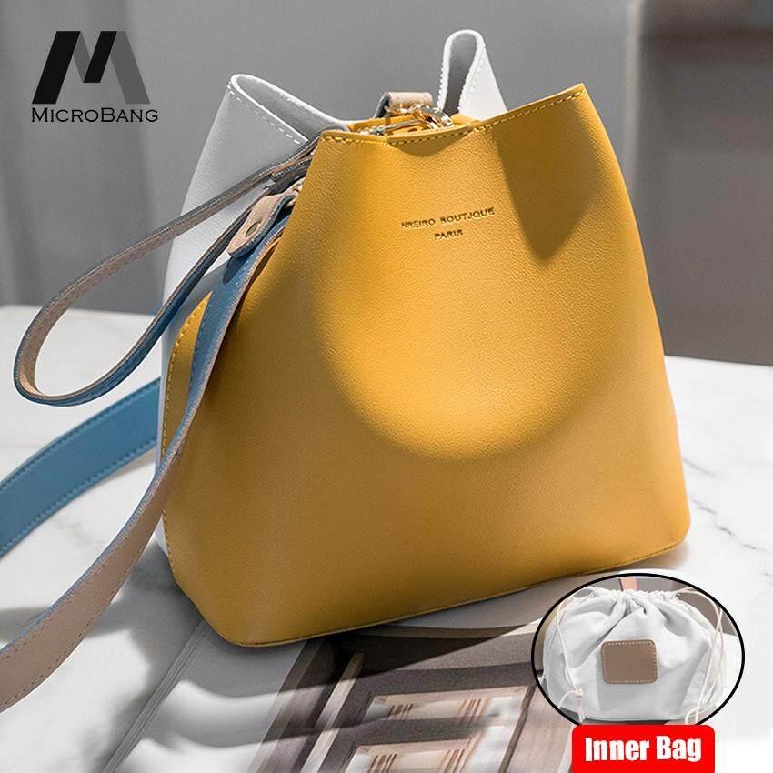 กระเป๋าเป้สะพายหลัง นักเรียน ผู้หญิง วัยรุ่น ฉะเชิงเทรา MicroBang กระเป๋าสะพายข้าง Sling Bags Women PU Leather Cross Body Shoulder Bags Handbags Bucket Type Tote Purse Satchel Bags Mother Son Bags