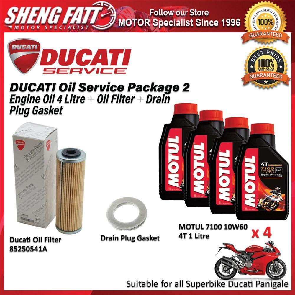 DUCATI Panigale Oil Service Package for Superbike (MOTUL Engine Oil 4 Litre + Oil Filter + Drain Plug Gasket)