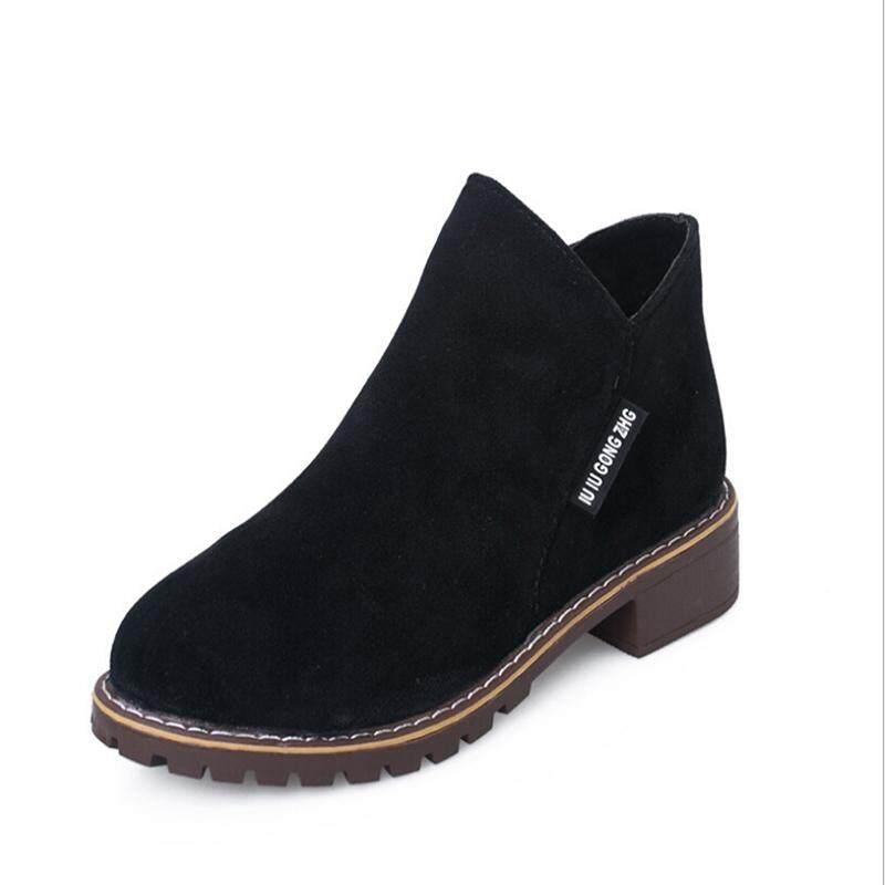Fashionday Nữ Da Lộn Cổ Chân Giày Ngắn Giày Bốt Martin Chun Gót Giày Xanh 35