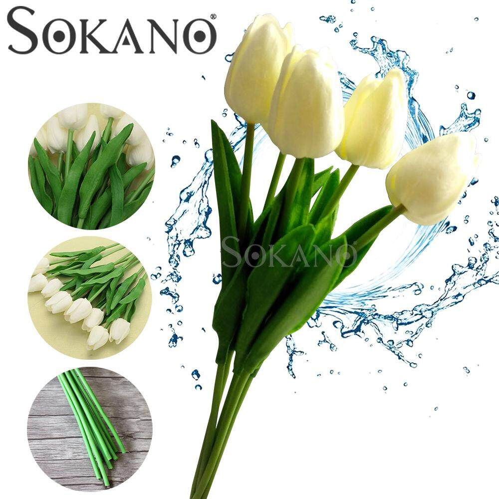 5pcs Artificial PU Tulip Flowers