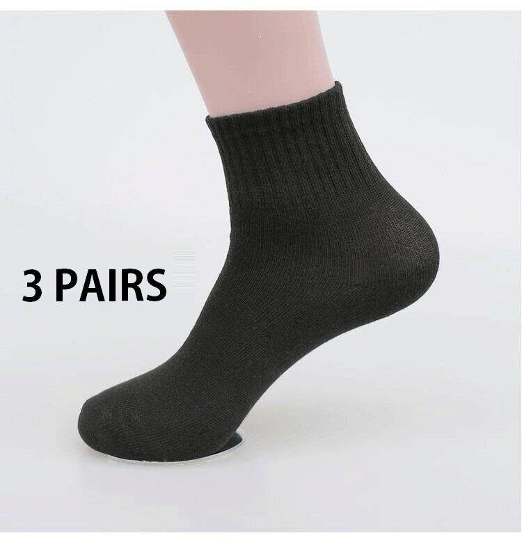 3 Pairs 100% Cotton School Socks White Socks with Black Sole ( Ready Stock)