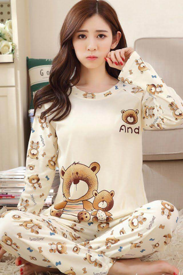 KM Women Cartoon Printed Pjamas Sleepwear [M14953]
