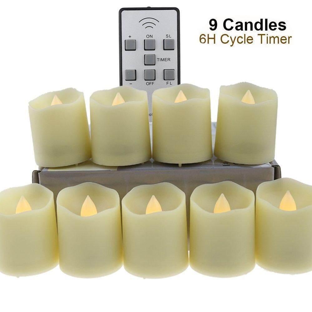 9 Chiếc Flameless Nến Trà Đèn Từ Xa Thanh Vắt LED Nhấp Nháy Đèn Có Hẹn Giờ-Thực Tế Tealights Giả Ấm Áp trắng Ngọn Lửa Nến-Hoạt Động Bằng Pin Nến 200 Giờ-Ngày Lễ Trang Trí