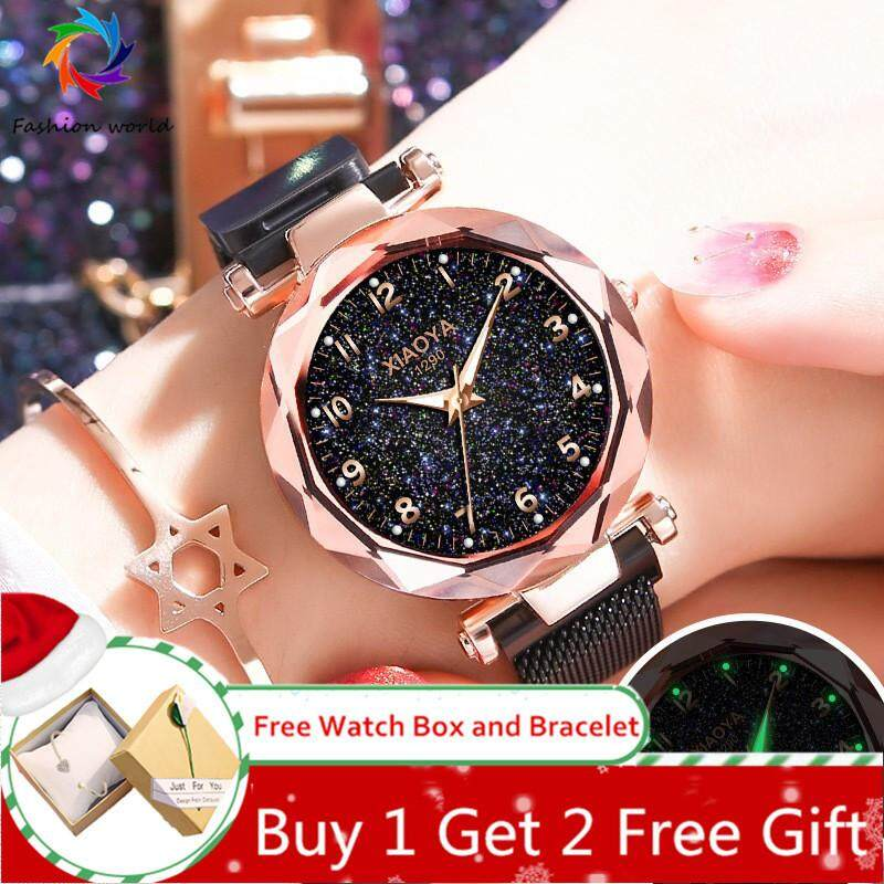 【ซื้อ 1 แถม 2 ฟรีของขวัญ】มาถึงผู้หญิงหรูหรานาฬิกาข้อมือ Star Dial LADIES แฟชั่นนาฬิกากันน้ำแม่เหล็กตาข่ายนาฬิกาควอตซ์ Luminous นาฬิกา