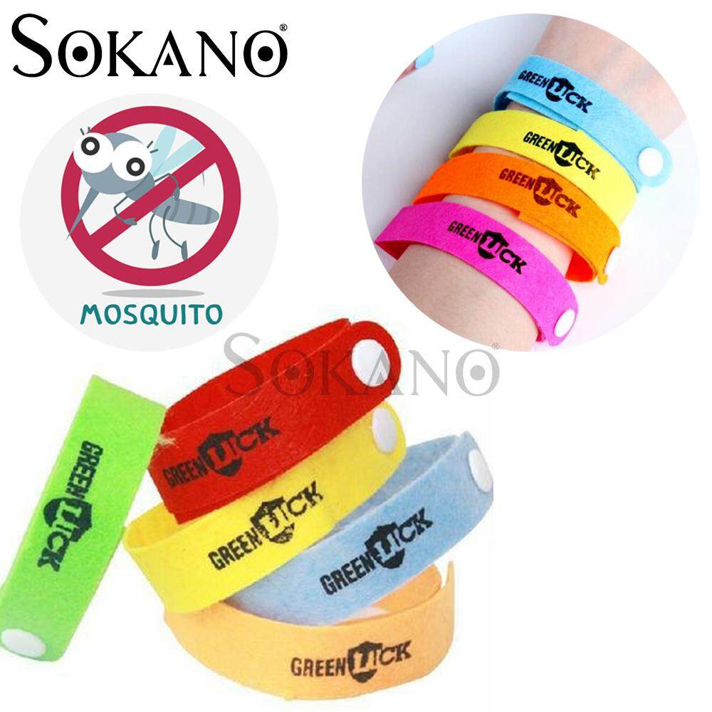 (RAYA 2019) SOKANO Green Luck Mosquito Insect Repellent Wrist Band (Buy 10 Free Shipping) Random Colour