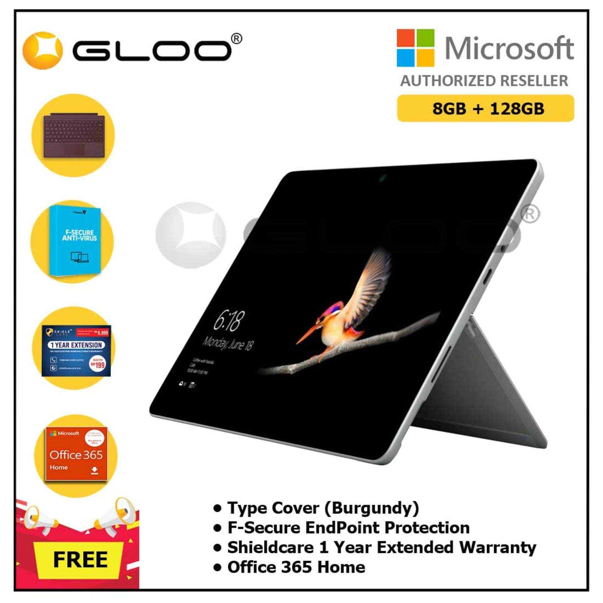 Surface Go Y/8GB 128GB + Surface Go Type Cover Burgundy + Shieldcare 1 Year Extended Warranty + F-Secure End point Protection + Office 365 Home (ESD License)
