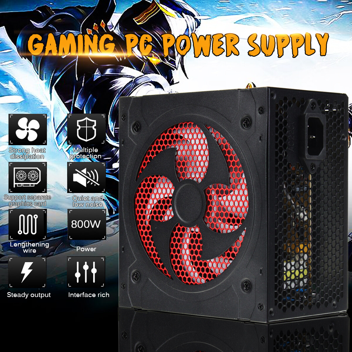 220V 800W Computer Power Supply PFC 20+ 4 Pin PC Power Supply with ATX 12V 2.31 High-end Computer Configuration