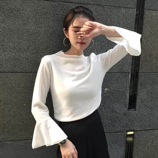 Korean Style Open Trumpet Sleeve with Round Neck Blouse