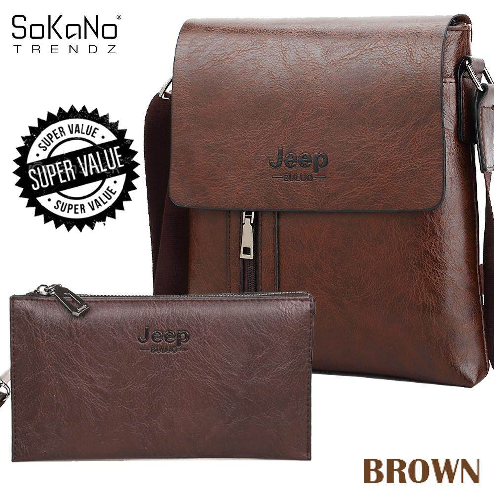 (Bundle)SoKaNo Trendz SKN908 Jeep Vertical PU Leather Sling Shoulder Beg Lelaki Cross Men Bag Gift  + SKN916 JEEP NEW Professional Men Fashion Leather Hand Bag Hand Pouch Dompet
