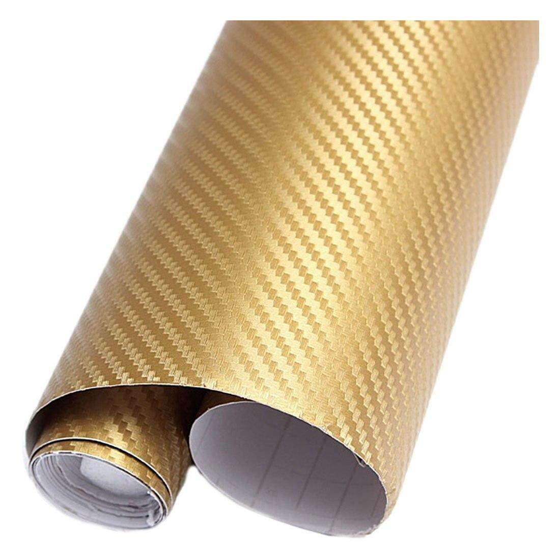 3D Carbon Fiber Decal Vinyl Film Wrap Roll Adhesive Car Sticker Sheet Gold